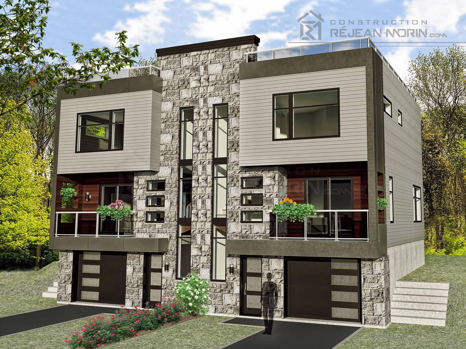 Mod les de maison jumel avec garage et toit plat for Modele maison toit plat