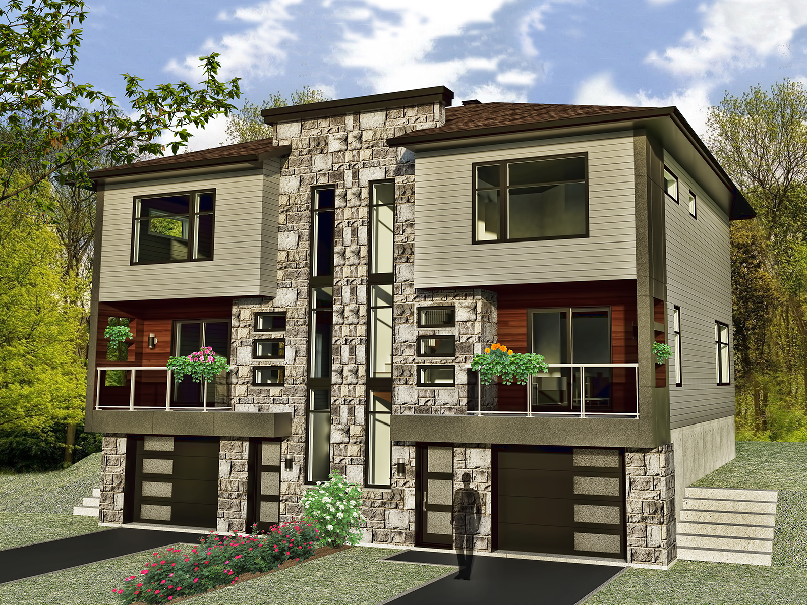 Jumel 2 tages avec garage construire l vis mod le j for Modeles de maison a construire