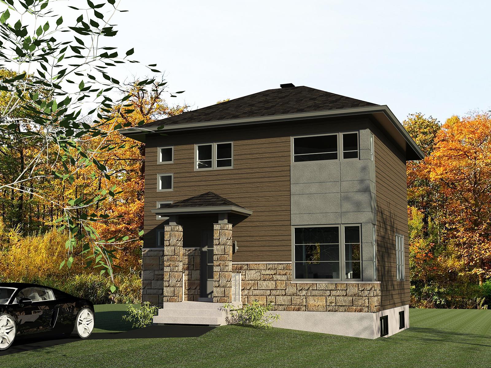 C 1002 rendu brun et gris for Modele maison nicolas