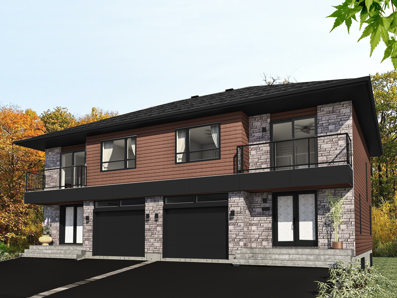 J 1006 rendu noir for Modele maison 2 etage avec garage