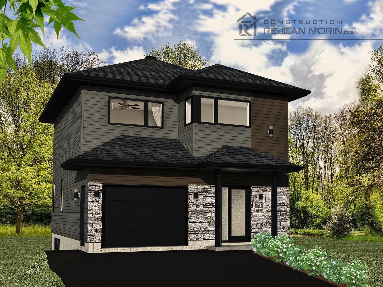C 1005 rendu couleur barista falaise for Modele maison 2 etage avec garage
