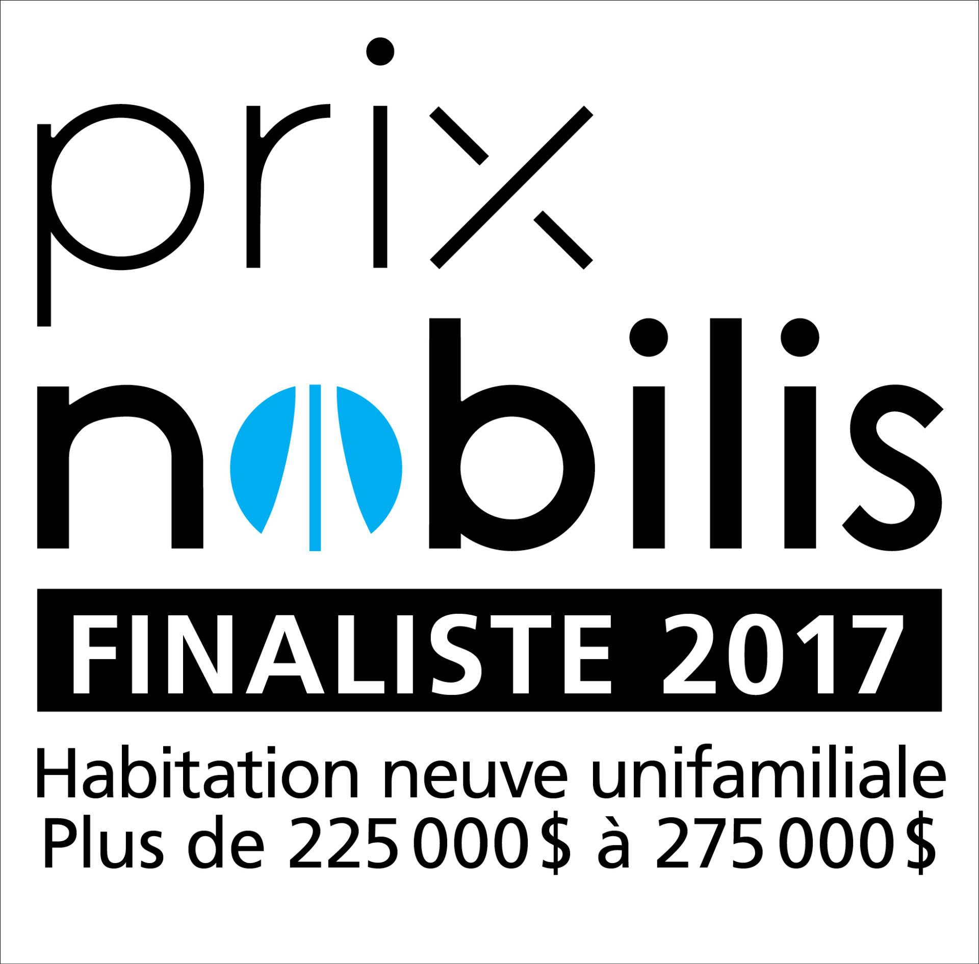 APCHQ - PrixNobilis 2017 - Habitation neuve unifamiliale - 225 000 $ à 275 000 $ - Modèle C-341
